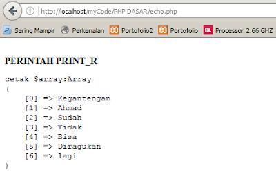hasil eksekusi perintah print_r di browser