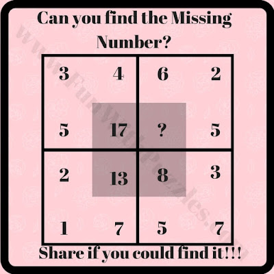 Hard puzzle to find missing number in square