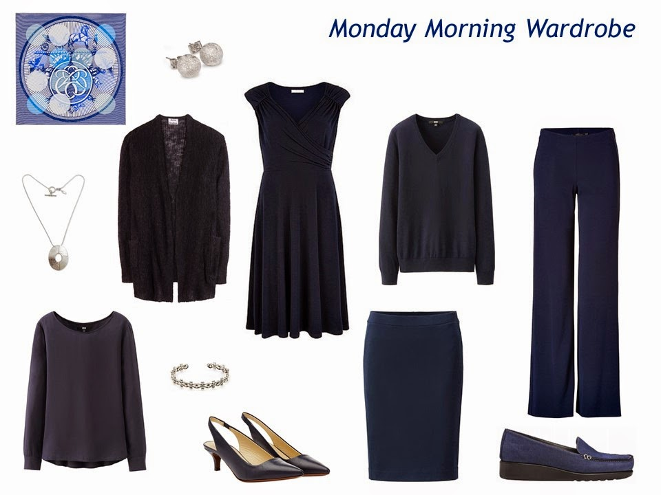 "a six-piece ""Monday Morning Wardrobe"" in navy, with accessories"