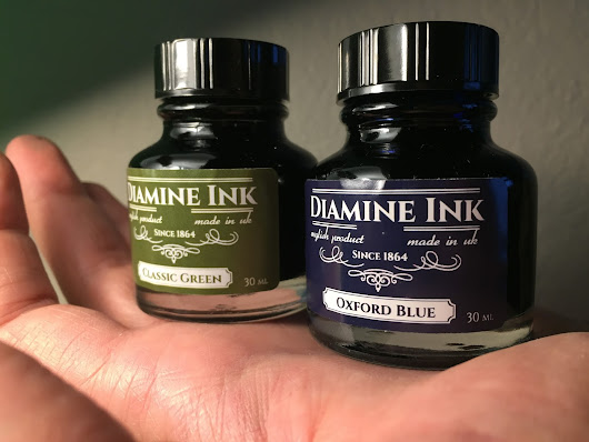 Diamine Classic Green ve Oxford Blue