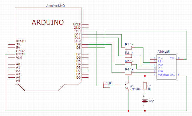 Схема для сброса фьюзов ATtiny85