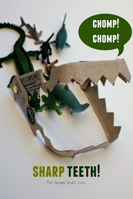 make shark, dinosaur, alligator, or crocodile teeth from an egg carton