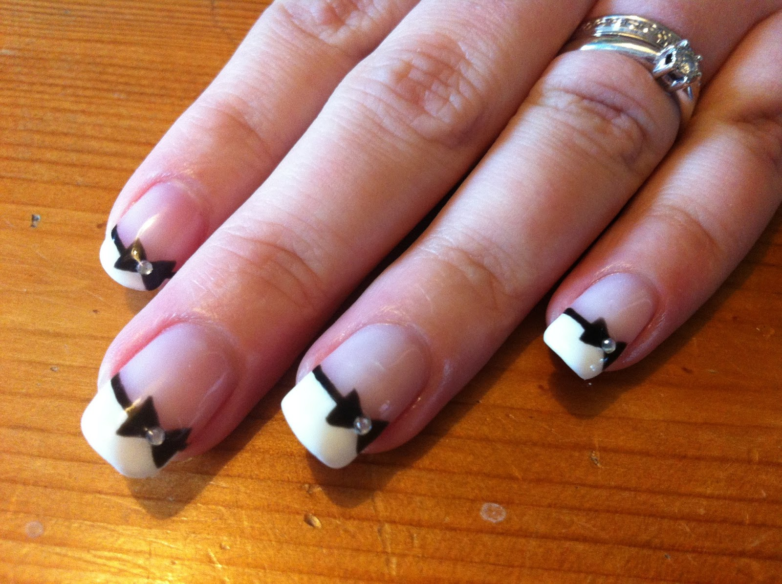 brush up and polish up cnd shellac nail art french manicure with black bows. Black Bedroom Furniture Sets. Home Design Ideas