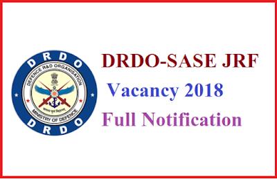 DRDO-SASE JRF Vacancy 2018