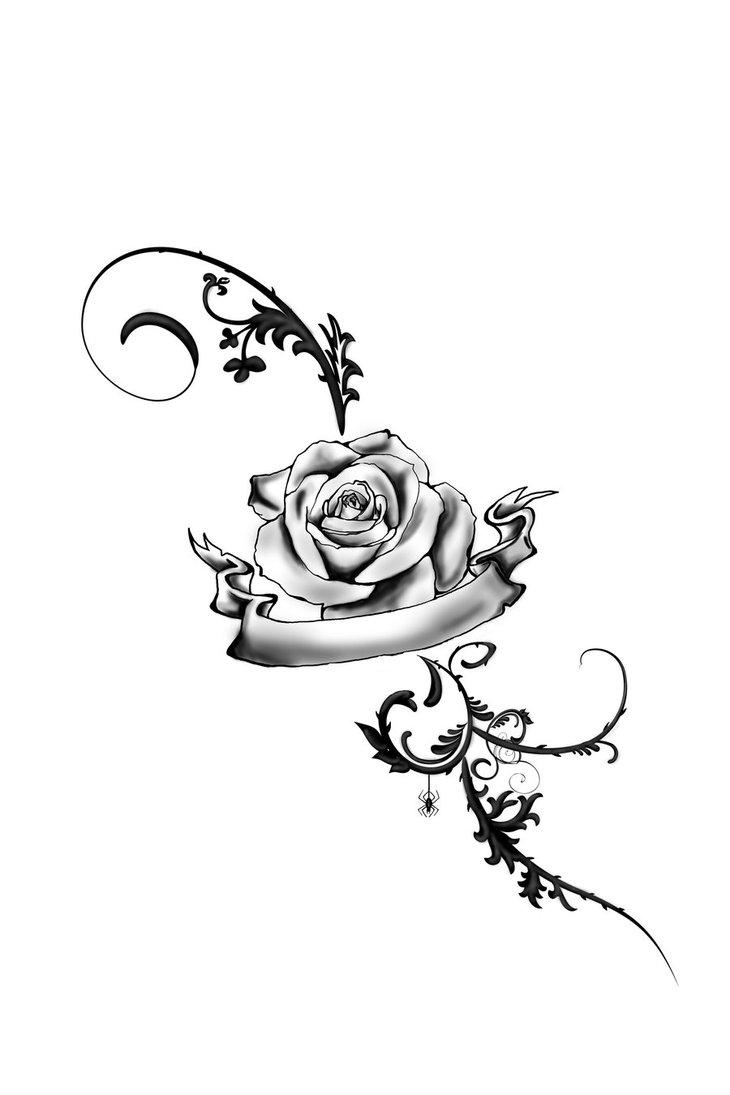 rosa tattoo no p C3 A9 flor helena  foot tattoo rose by juliavonmorque    Rose Vine Drawing Tattoo