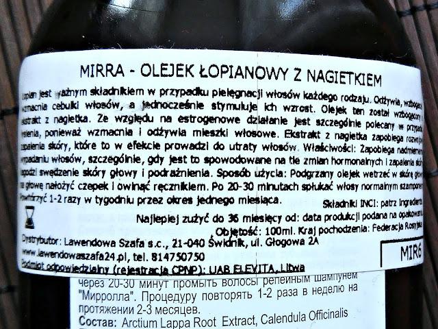 Mirolla - Olejek łopianowy z nagietkiem, etykieta