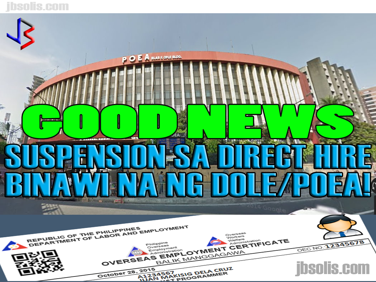 "A number of OFWs and employers abroad were shocked when a complete suspension on the deployment and application of ""Direct Hiring"" for OFWs was announced last April 25, 2017. This was effected by the complete stopping of OEC issuance for all Directly-Hired OFWs.  The reason for the ban was the discovery of a money-making scheme within the POEA where employees within the agency are abusing the strict rules on Dirict Hiring to gain ill-gotten money. It was discovered that anyone abroad can ""directly hire"" a Filipino and bypassing the POEA 2016 Revised Rules and Regulation on the Recruitment and Deployment of OFWs. In exchange for P15,000 to P17,000, these insiders can provide the necessary clearances to ""directly hire"" Filipinos to work abroad, even without the requirements for exemption to the Direct Hire Ban.  For a time being, the matter was being investigated and the authorities were trying to discover those involved in the scam. However, hundreds, if not thousand, of OFWs who were scheduled to leave were left in limbo as they could not leave the country until the ban has been lifted. Similarly, those who were scheduled to go on vacation to the Philippines decided to reschedule or even cancel their vacation for fear that they may not be able to go back to work. The GOOD NEWS is that Labor Secretary Silvestre Bello III has LIFTED THE SUSPENSION ON DIRECT HIRING! During the China Belt and Road Initiative Summit in Beijing, PCCO ASec. Margaux Uson interviewed Sec. Bello and inquired about the ban on direct hiring. Sec. Bello responded saying that he left a memorandum (dated May 16, 2017) lifting the suspension on direct hiring effective IMMEDIATELY. Direct-hire OFWs are still required to get OECs from POEA, but only until this process is removed, which was also announced by Secretary Bello. See No more OEC!  The reason for lifting the suspension is simple. Sec. Bello explained that the investigation is finished and they already know those who were involved in the scam. He also promised a reorganization in the agency, and reiterated that the purpose of the ban was to protect Filipino workers."