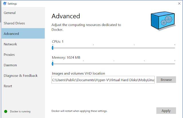 Update docker settings