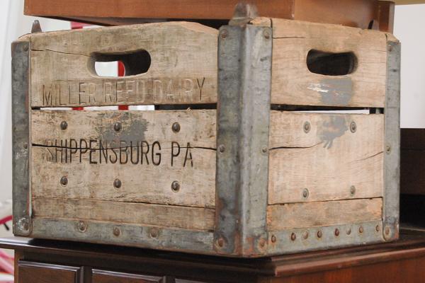 Vintage wood and metal milk crate