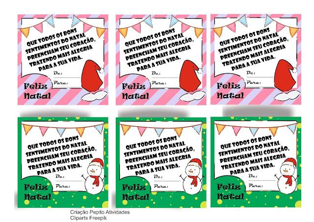 Cartões para presente de fim de ano na escola