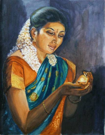 Deepawali, painting by Mrudula Bapat ( part of her portfolio of paintings on www.indiaart.com)