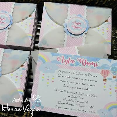 convite artesanal aniversário infantil personalizado chuva de amor chuva de bênçãos nuvens candy color 1 aninho chá de bebê fraldas