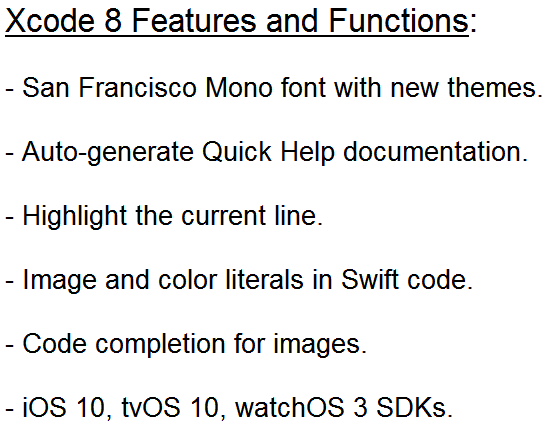 Xcode 8 Features