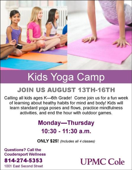 8-14/15/16 Kids Yoga Camp