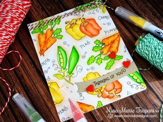 Watercolored Vegetable card by Nina-Marie Trapani | Vegetable Garden stamp set by Newton's Nook Designs #newtonsnook