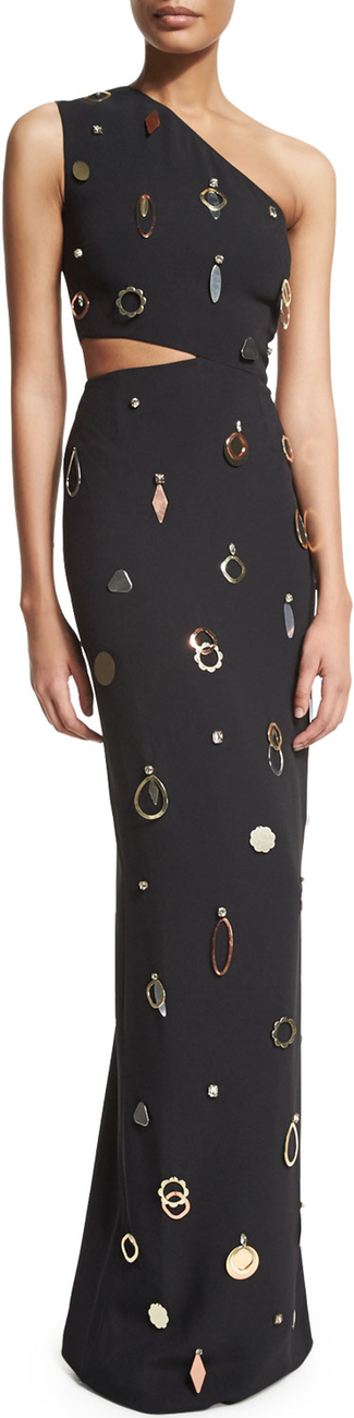 Stella McCartney One-Shoulder Jewelry-Embellished Gown