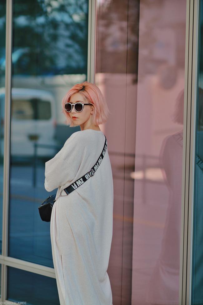 Japanese Fashion Blogger,MizuhoK,20190803OOTD, GU tee dress, zara sneakers, crossbody, zeroUV sunglasses, i like paper watch