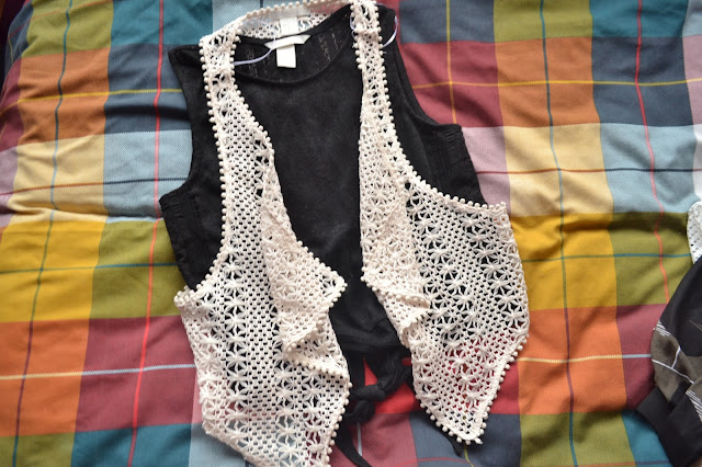 H&M black tie crop top with crochet waistcoat