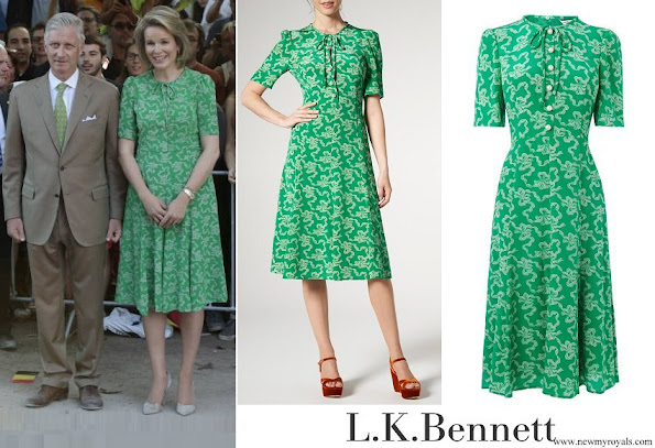 Queen Mathilde wore LK Bennett Montana Green Silk Dress