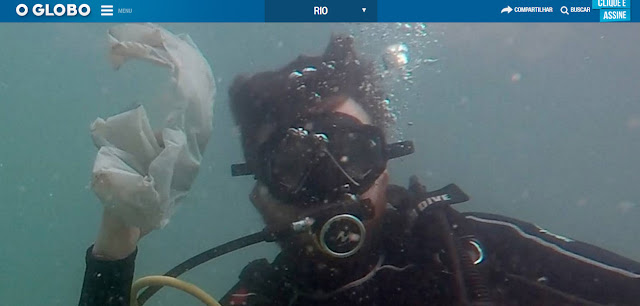 Mergulhadores fazem mutirão de limpeza da Praia Vermelha