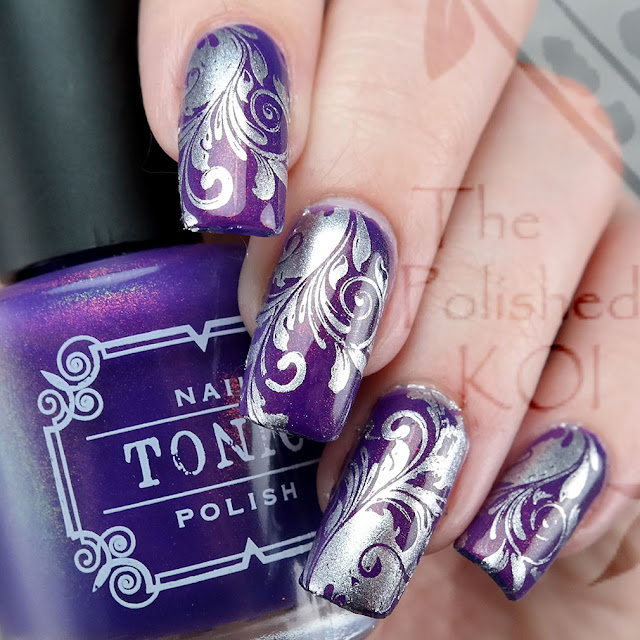 Tonic Polish - Empress; swirl nail art