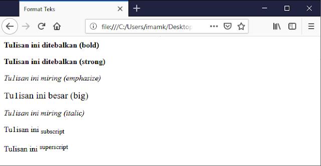 Output Pemformatan Teks