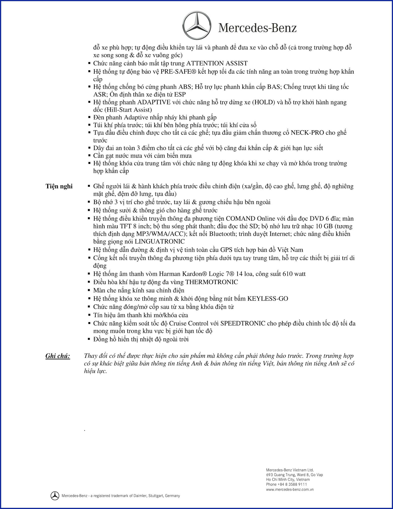 Bảng thông số kỹ thuật Mercedes CLS 400 2018 tại Mercedes Trường Chinh