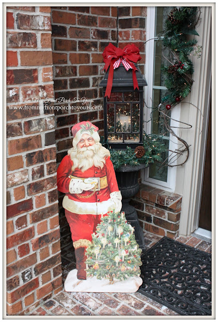 Christmas Porch Inspiration- Antique Farmhouse Santa Cut Out-From My Front Porch To Yours