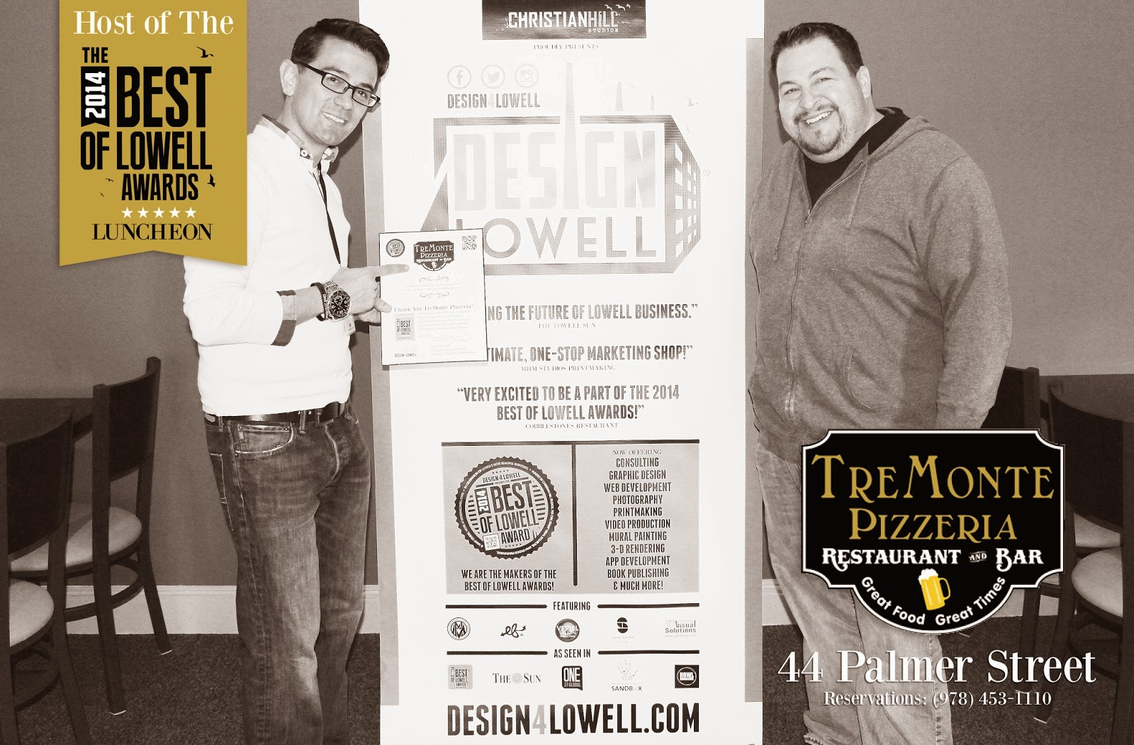 Design 4 Lowell Much thanks to The Owl Stamp Visual Solutions and to TreMonte Pizzeria at  44 Palmer Street for hosting the luncheon and providing us with free lunch