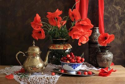 rojas flores bodegones fotos