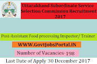 Uttarakhand Subordinate Service Selection Commission Recruitment 2017–198 Assistant Food processing Inspector/ Trainer