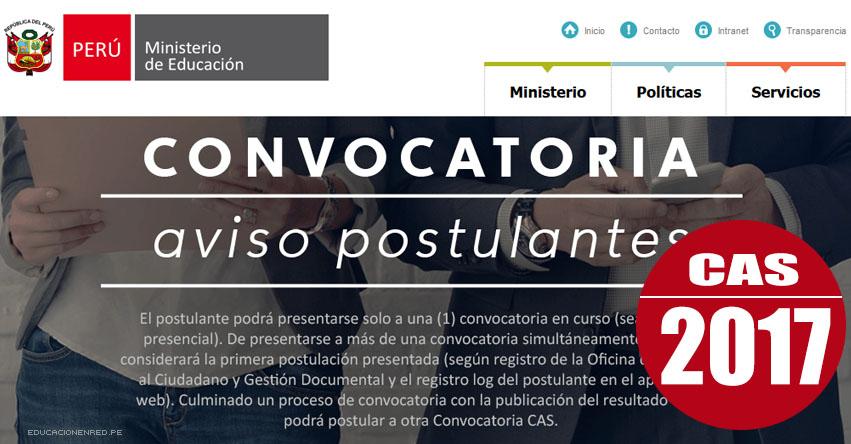 MINEDU: Convocatoria CAS ENERO 2017 - Más de 200 Puestos de Trabajo en el Ministerio de Educación - COAR - www.minedu.gob.pe