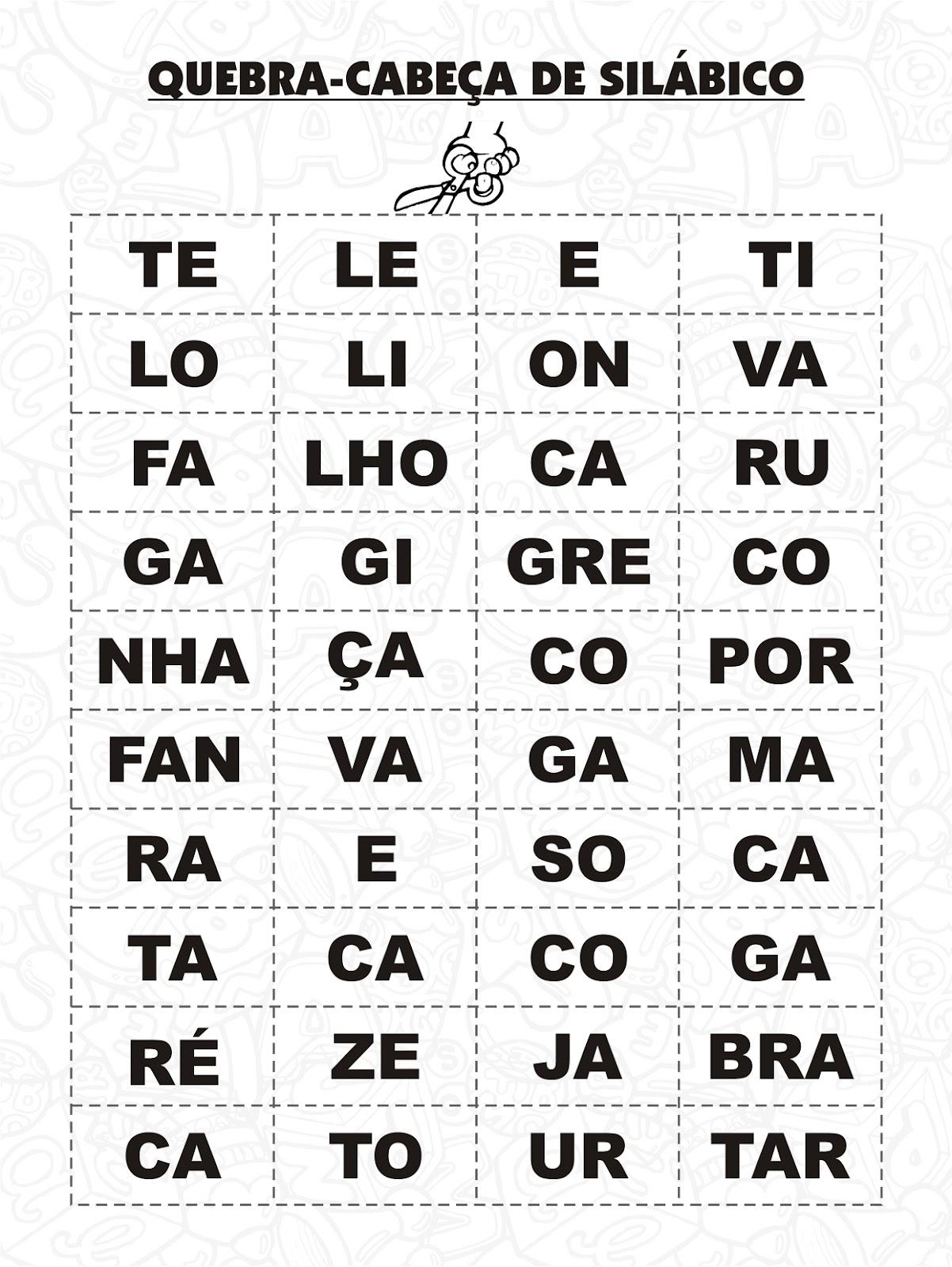Amado Jogos - Quebra cabeça de silábico - Atividades de Alfabetização  LG03