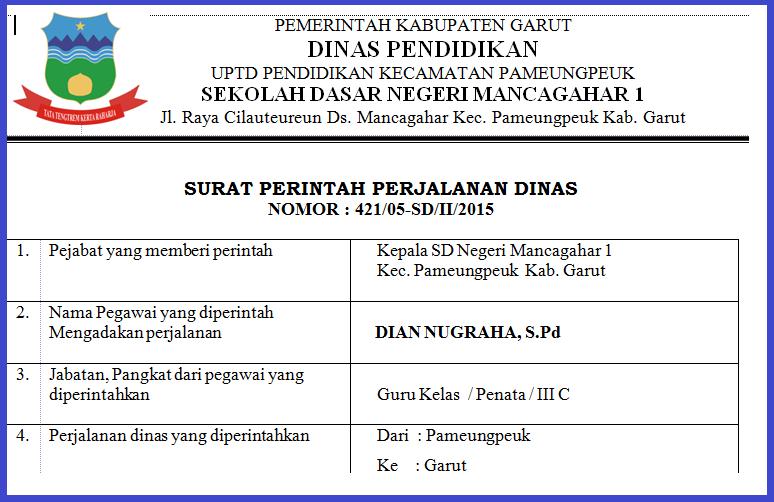 Contoh Surat Perintah Perjalanan Dinas Sppd Yang Benar