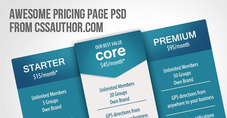 Pricing Page PSD
