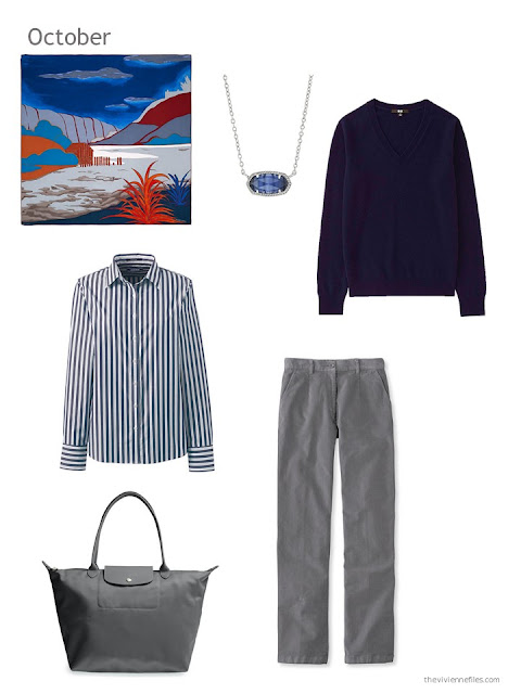 a cool-weather outfit in navy and grey, based upon an Hermes scarf