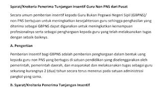 Syarat/Kreiteria Penerima Tunjangan Insentif Guru Non PNS dari Pusat