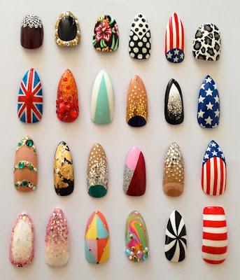 Uñas decoradas con varios diseños