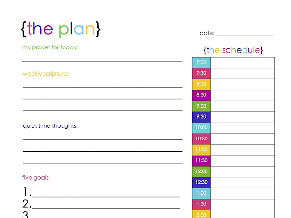 {the plan}: a colorful free daily planner printable