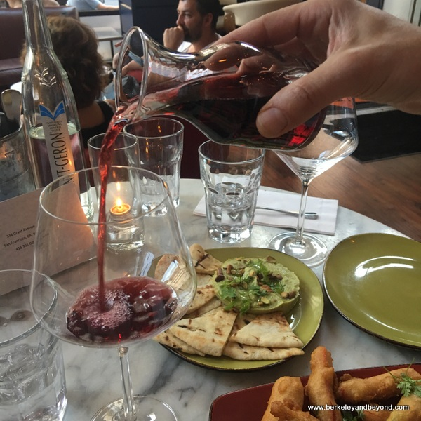 wine pour and small plates at Herlen Place wine bar in San Francisco, California