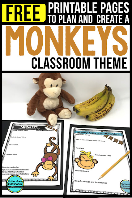 MONKEY Theme Classroom: If you're an elementary teacher who is thinking about an animal, jungle, rainforest, zoo or monkey theme then this classroom decor blog post is for you. It'll make decorating for back to school fun and easy. It's full of photos, tips, ideas, and free printables to plan and organize how you will set up your classroom and decorate your bulletin boards for the first day of school and beyond.
