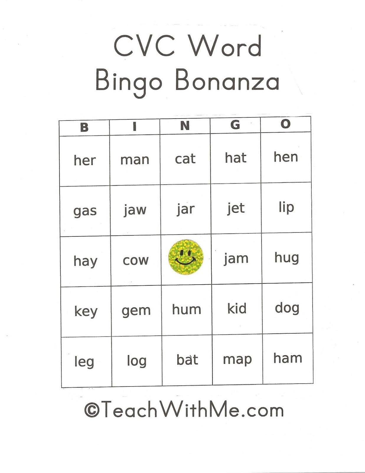 Cvc Word Bingo Bonanza