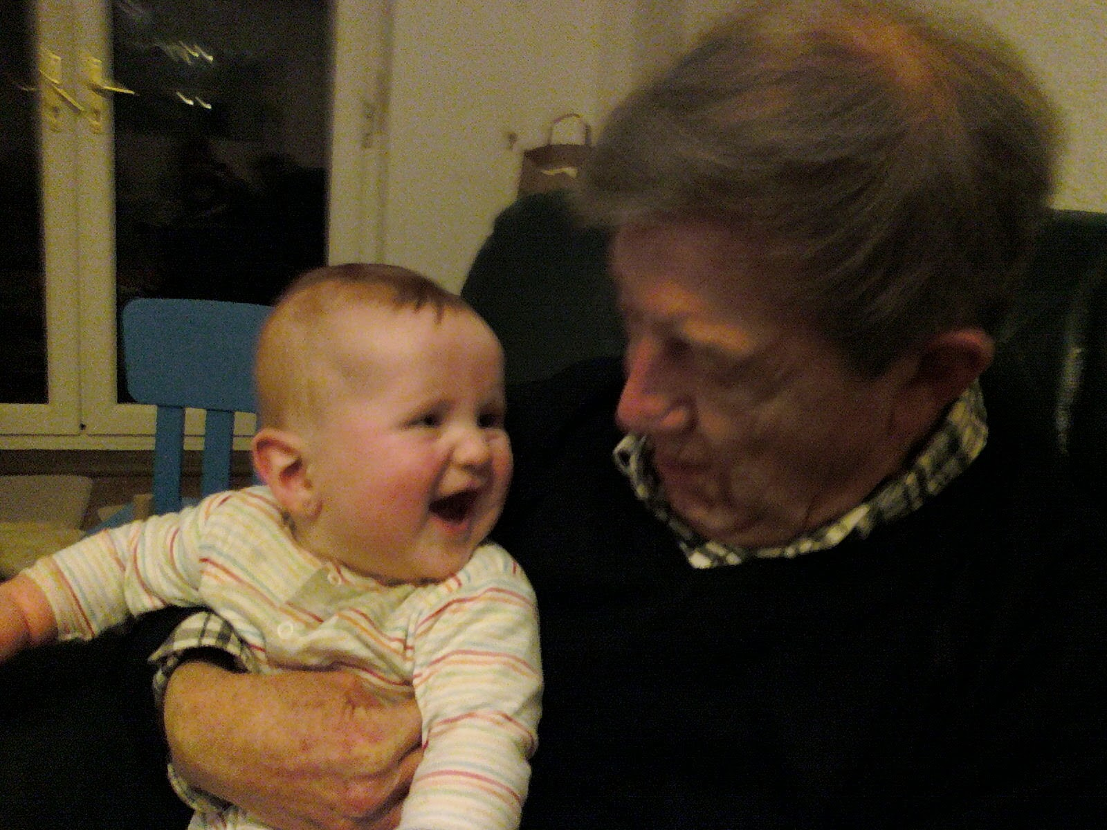 Baby Ieuan with his grandfather John