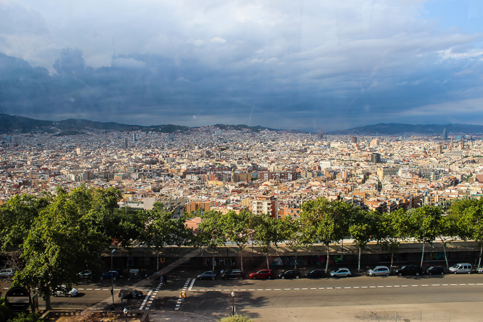 Barcelona city view Montjuic cable car