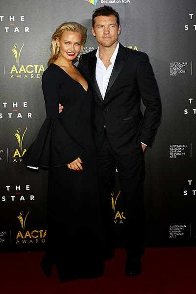 Lara Bingle and Sam Worthington in Sydney AACTA