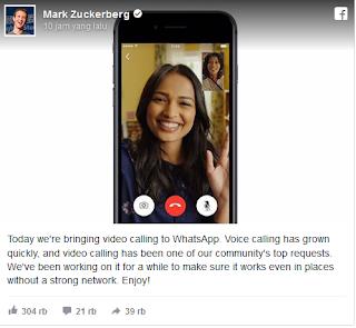 Fitur Video Call pada WhatsApp sudah diresmikan?