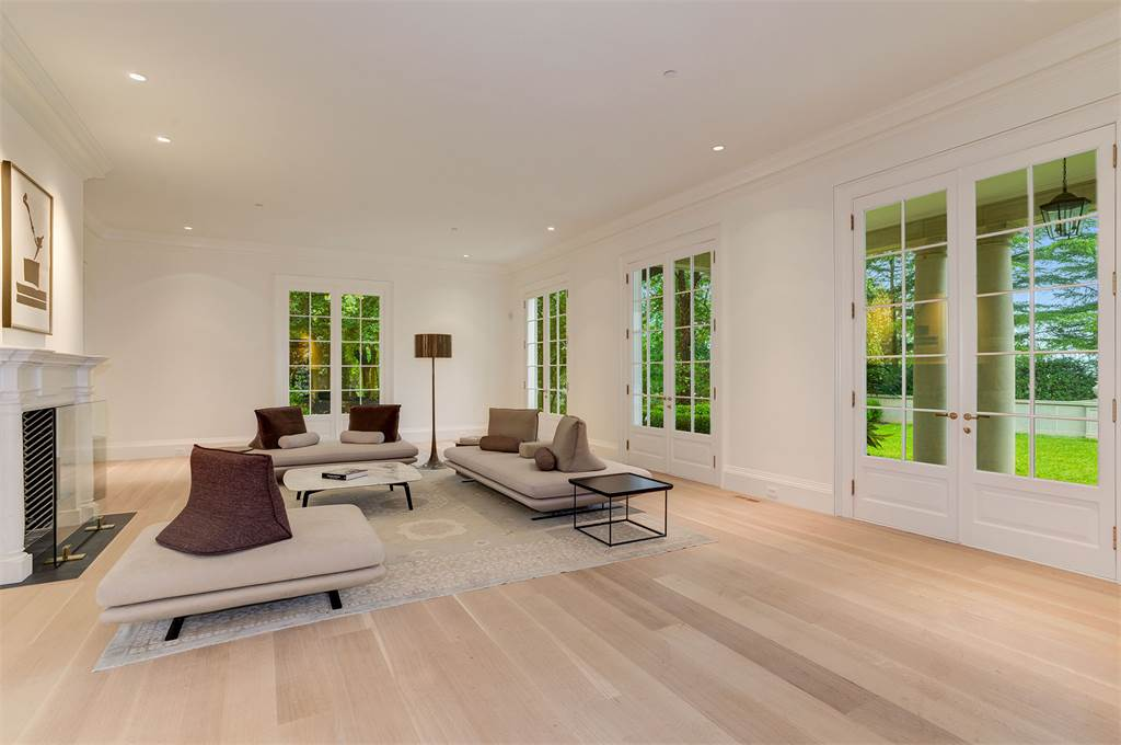 Washington DC luxury mansion Kalorama living room wood floors regency style limestone