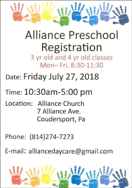 7-27 Alliance Preschool Registration