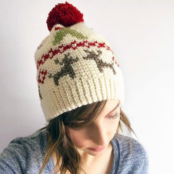 fair isle reindeer christmas hat crochet pattern