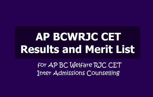 AP BCWRJC CET Results, Merit List 2019 for AP BC Welfare RJC CET Inter Admissions counselling